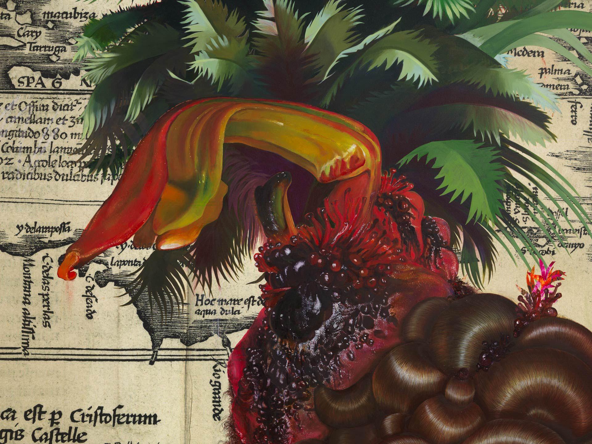 Firelei Báez (née en 1981), Sans titre (Terra Nova), 2020, peinture à l'huile et à l'acrylique, impression laser sur toile. MBAM, achat, fonds Fête-champêtre W. Bruce C. Bailey, fonds Douglas Bensadoun, fonds Diana Billes et fonds du Cercle Forces Femmes du MBAM. Photo Dan Bradica