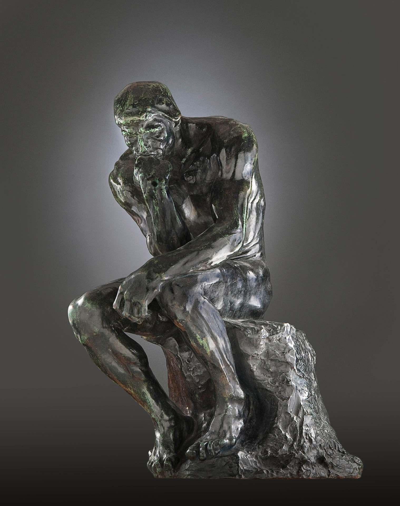 Auguste Rodin, The Thinker, 1881-1882 (cast between 1902 and 1909), bronze, 71 x 43 x 56 cm, cast Alexis Rudier, Paris. Purchase, John W. Tempest Fund.