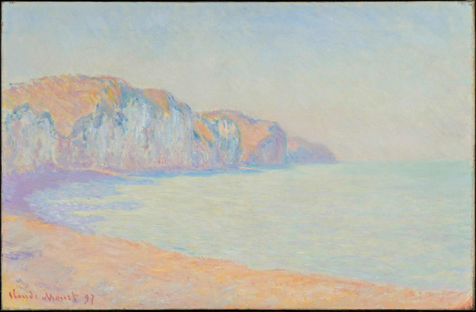 Claude Monet, A Cliff at Pourville in the Morning, 1897, oil on canvas, 65.8 x 100.5 cm. Purchase, John W. Tempest Fund.