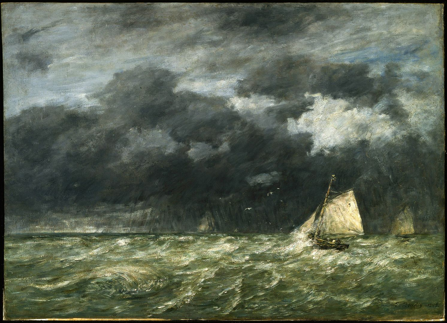 Eugène Boudin, A Squall, 1885, oil on canvas, 65.2 x 90.3 cm. Dr. Francis J. Shepherd Bequest.