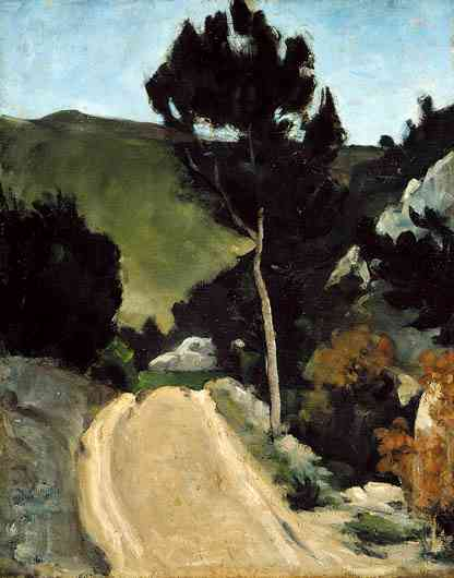 Paul Cézanne, Bend in a Road in Provence, about 1866 or later, oil on canvas, 92.4 x 72.5 cm. Adaline Van Horne Bequest.
