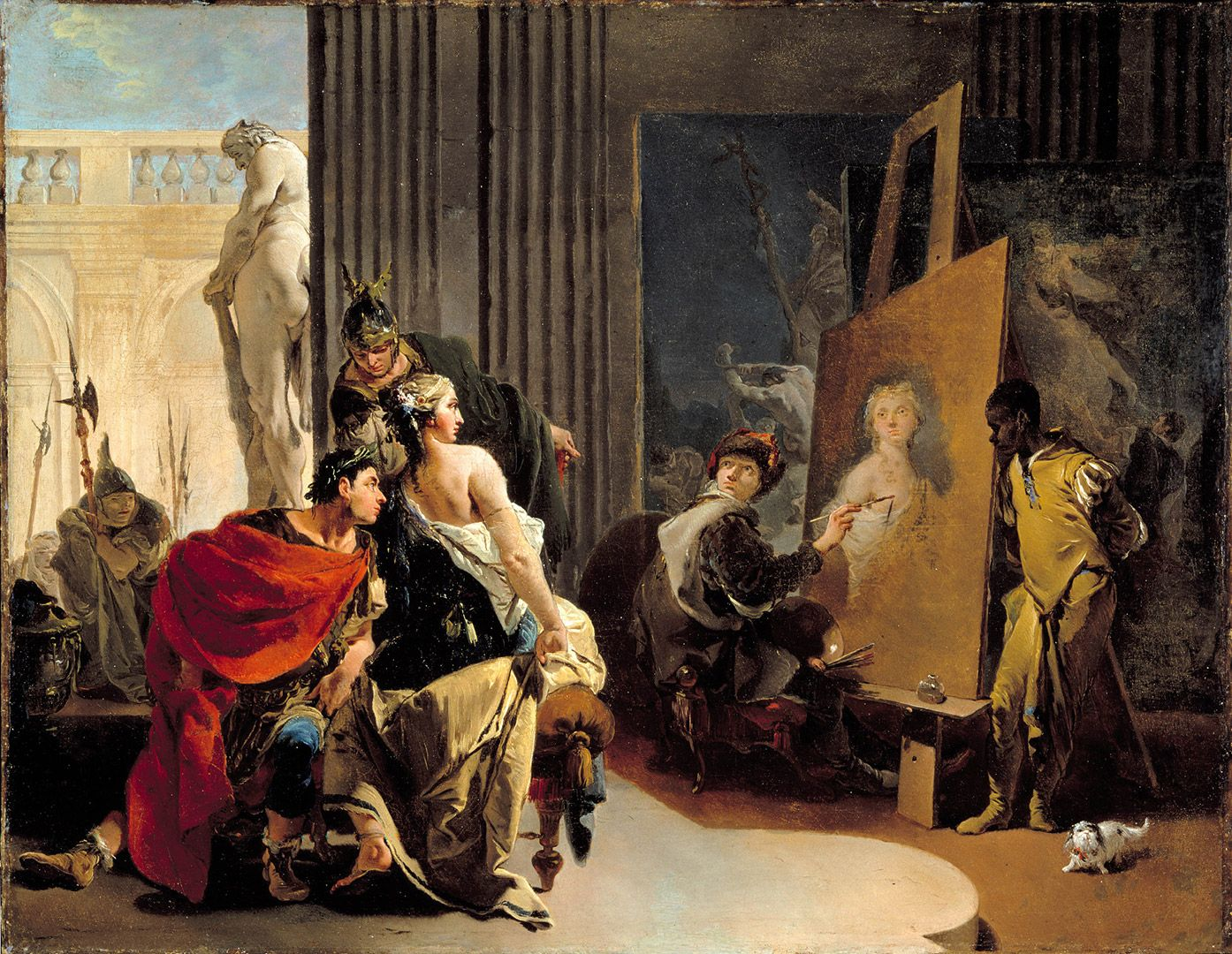 Giovanni Battista Tiepolo, Apelles Painting the Portrait of Campaspe, about 1726, oil on canvas, 57.4 x 73.7 cm. Adaline Van Horne Bequest.