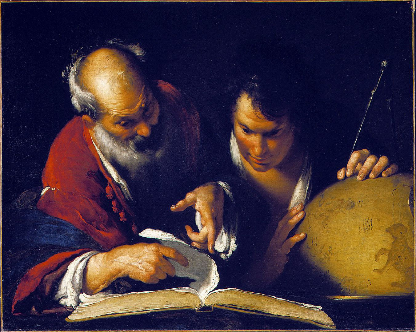 Bernardo Strozzi, Eratosthenes Teaching in Alexandria, about 1635, oil on canvas, 78.9 x 99.4 cm. Purchase, Horsley and Annie Townsend Bequest.