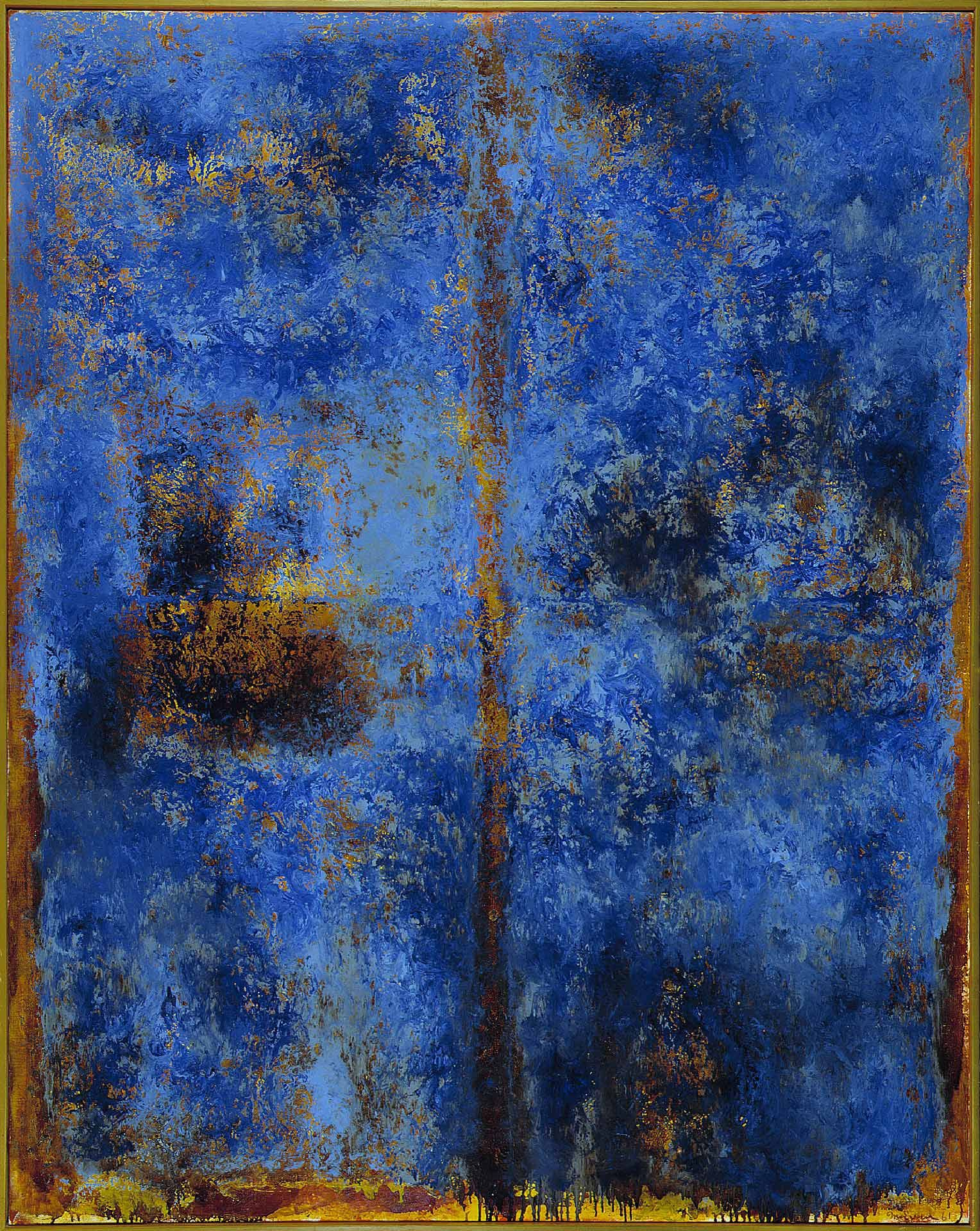 Jean McEwen (1923-1999), Meurtrière traversant le bleu, 1961, huile et vernis sur toile. MBAM, achat, fonds M. et Mme Gérard O. Beaulieu. © Succession Jean McEwen / SOCAN (2019). Photo MBAM.