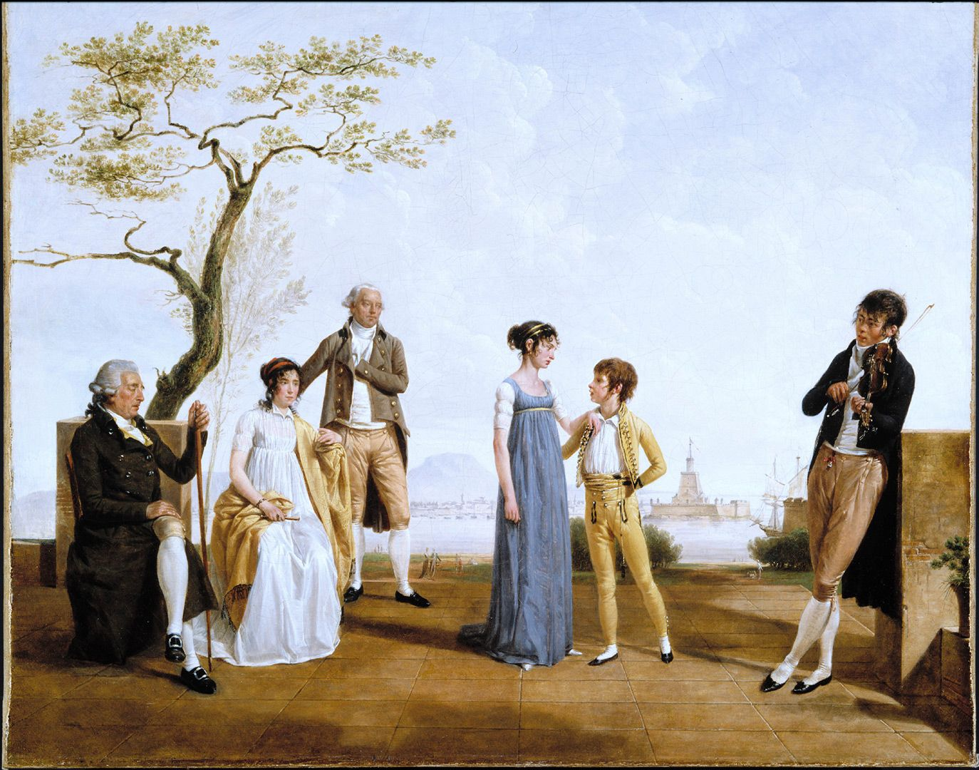 Jacques Sablet, le jeune, Family Portrait in front of a Harbour, 1800, oil on canvas, 64.8 x 81.4 cm. Purchase, special replacement fund.