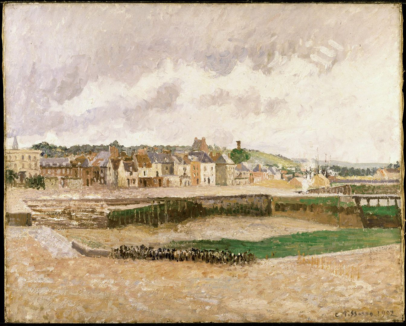 Camille Pissarro, Dieppe: Duquesne Basin at Low Tide, Afternoon, 1902, oil on canvas, 65.7 x 81.3 cm. Gift of Mr. and Mrs. Paul Ivanier.