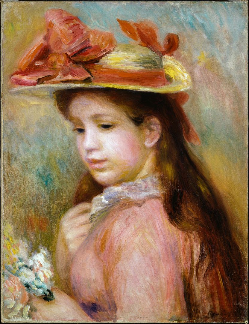 Auguste Renoir, Young Girl with a Hat, about 1890, oil on canvas, 41.5 x 32.5 cm. Purchase, grant from the Government of Canada under the terms of the Cultural Property Export and Import Act, and gifts of Mrs. A. T. Henderson, the families of the late M. Dorothea Millar and the late J. Lesley Ross, the Bank of Montreal, Redpath Industries Ltd. and the Royal Trust Company, in memory of Huntly Redpath Drummond.