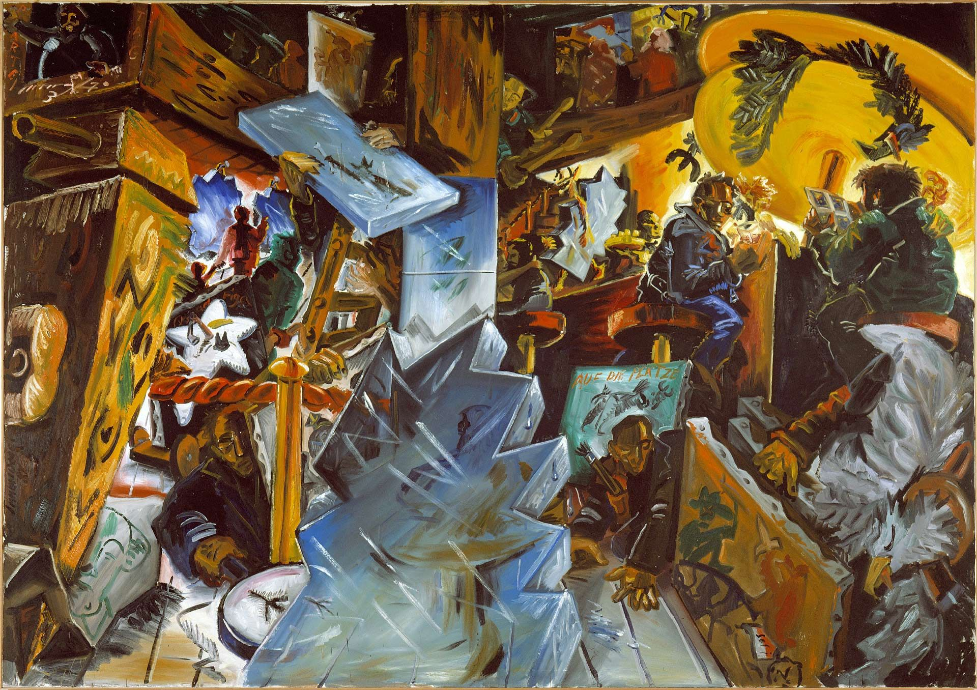 Jörg Immendorff, Deutschland Café XIII, 1982, oil on canvas, 282 x 400 cm. Purchase, Horsley and Annie Townsend Bequest.