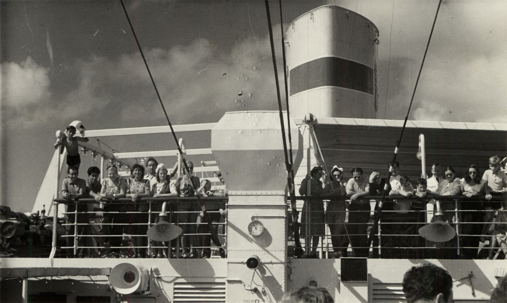 Photograph of passengers on the Sherpa Pinto Ship's deck, 1944. Montreal Holocaust Museum Collection, donated by Maurice Shenkier