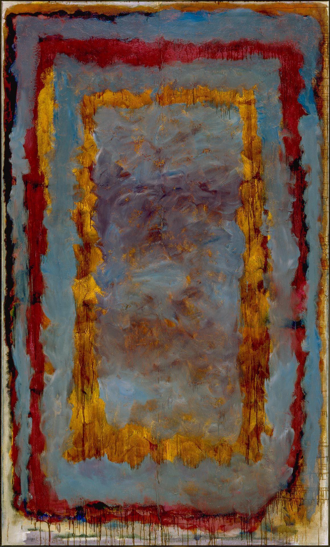 Jean McEwen (1923-1999), Élégie criblée de bleu no 5, 1986, huile et vernis sur toile. MBAM, don à la mémoire de Jean-François Houle, de la part de François R. Roy. © Succession Jean McEwen / SOCAN (2019). Photo MBAM.