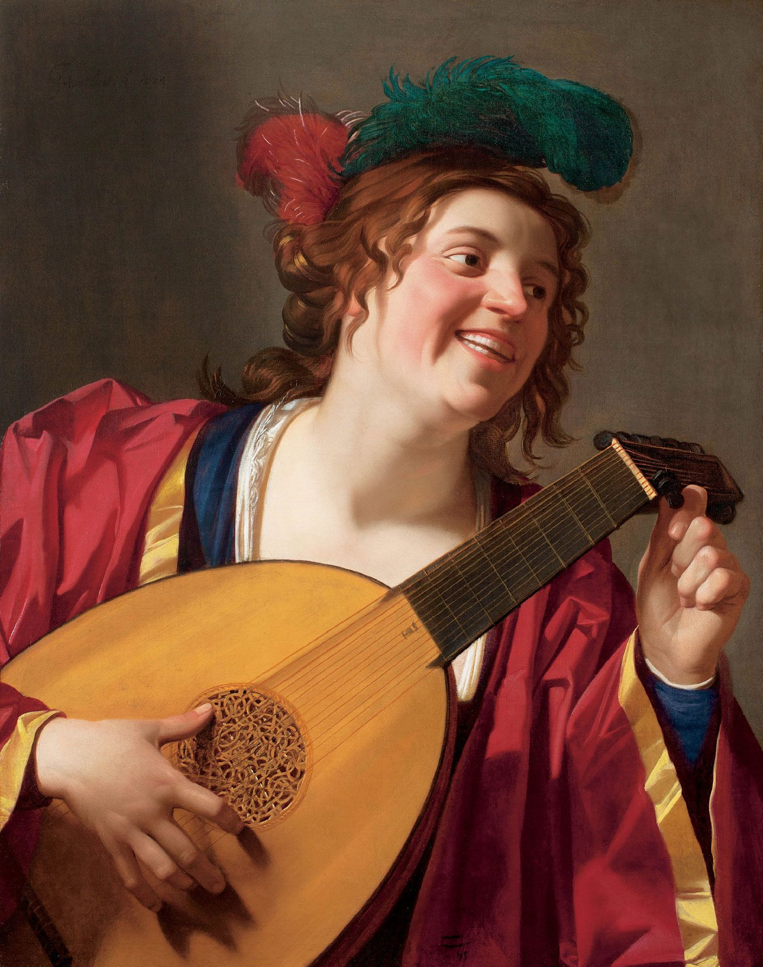 Gerrit van Honthorst, Woman Tuning a Lute, 1624, oil on canvas, 81.5 x 64.5 cm. Purchase, Horsley and Annie Townsend Bequest, William Gilman Cheney Bequest and the Museum Campaign 1988-1993 Fund. The Museum dedicates this work to the memory of Ellen Clara and Bruno Richard Spiro, victims of the Holocaust