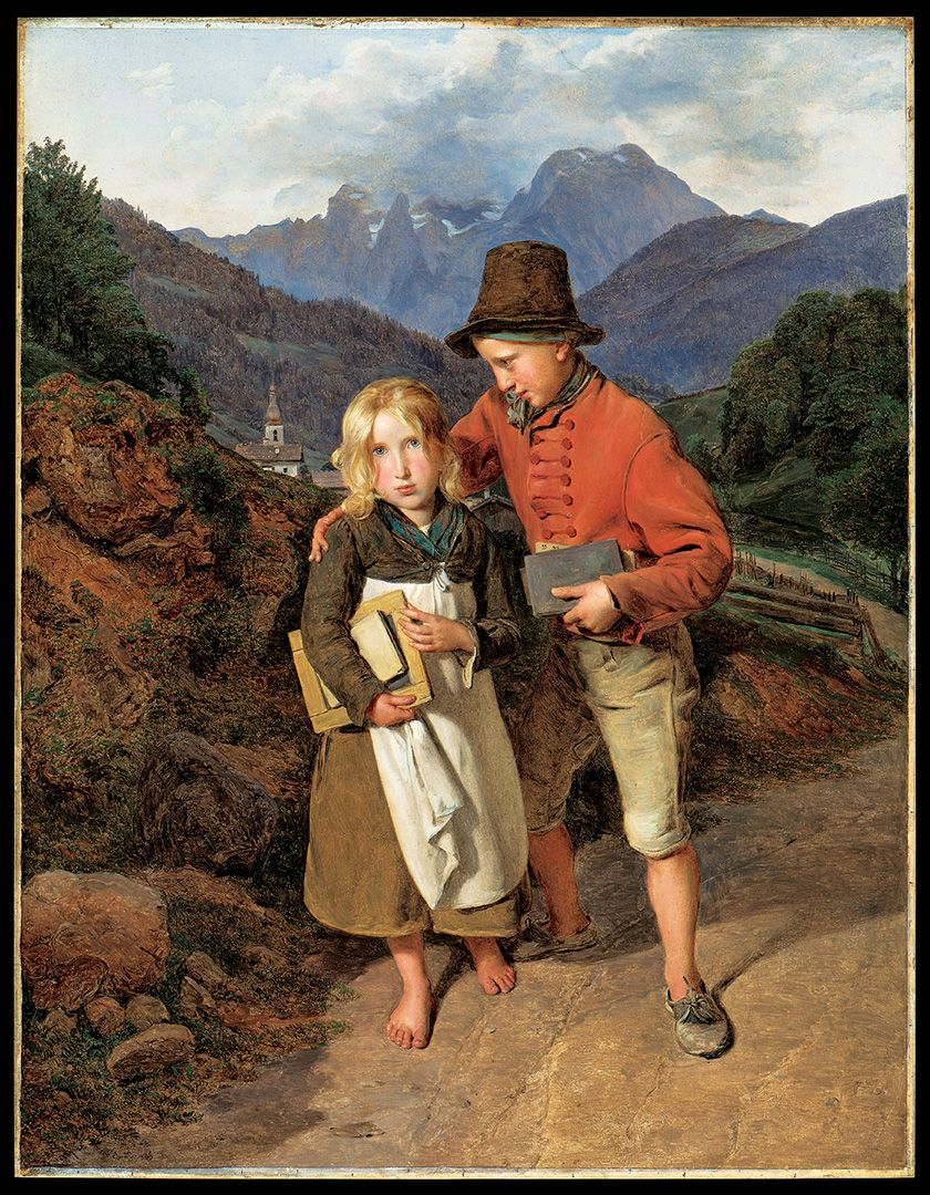 Ferdinand Georg Waldmüller, Children on Their Way Home from School, 1836, oil on paper mounted on wood, 44.5 x 34.5 cm. Gift of the Éliane and Georges Jorisch family.