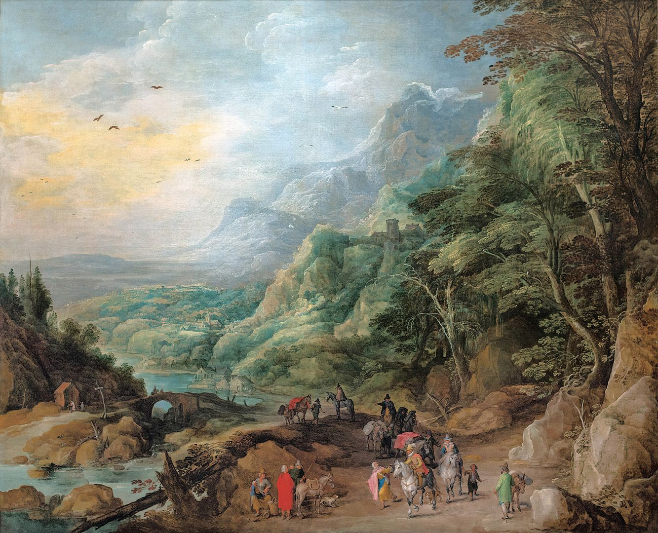 Le Jeune Momper et Le Vieux Bruegel, Wide Mountain Landscape with Travellers and Beggars, about 1620, oil on canvas, 181.8 x 219 cm. Gift of Mr. and Mrs. Michal Hornstein.