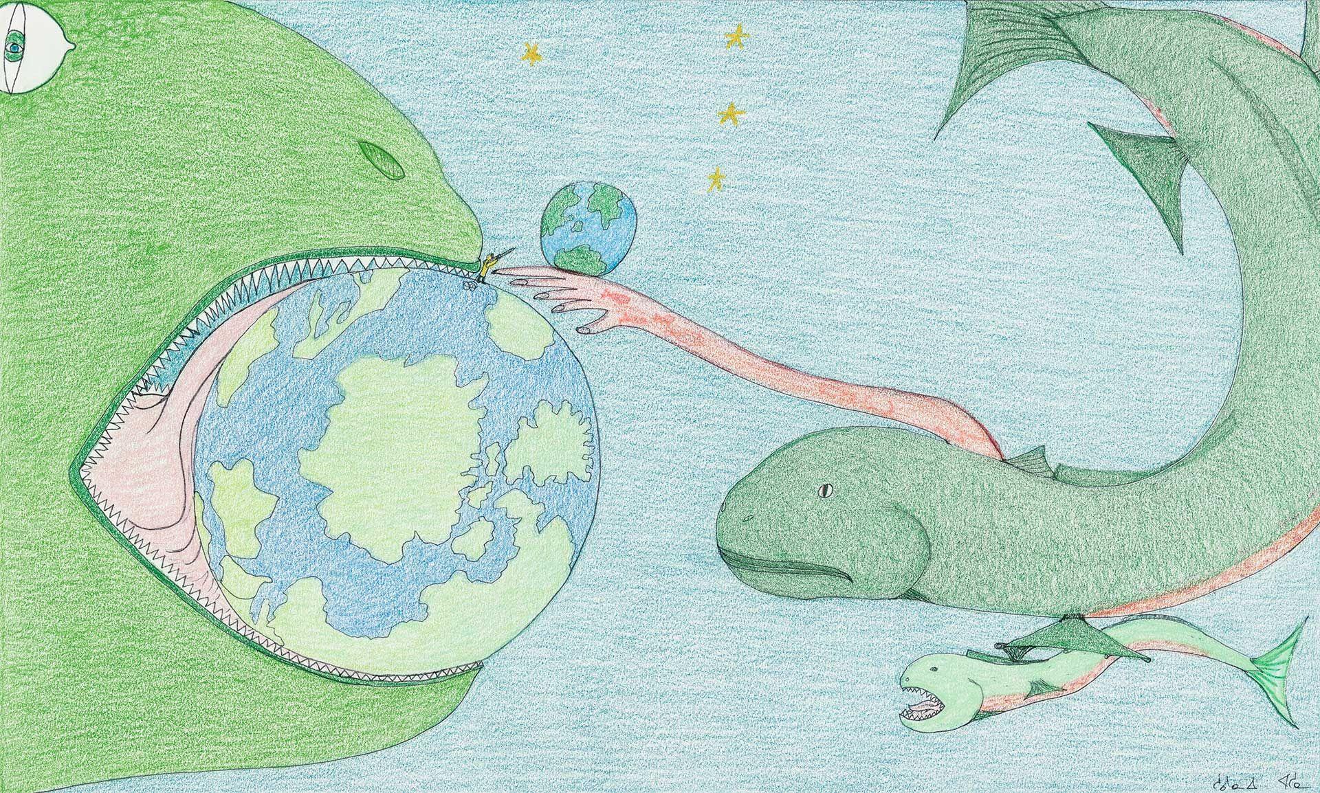 Oeuvre de Shuvinai Ashoona, Composition (Monstre mangeant le Monde), 2018, crayon de couleur, crayon feutre, 38,3 x 58,8 cm. MBAM, achat, legs Mary Eccles. Photo MBAM, Christine Guest