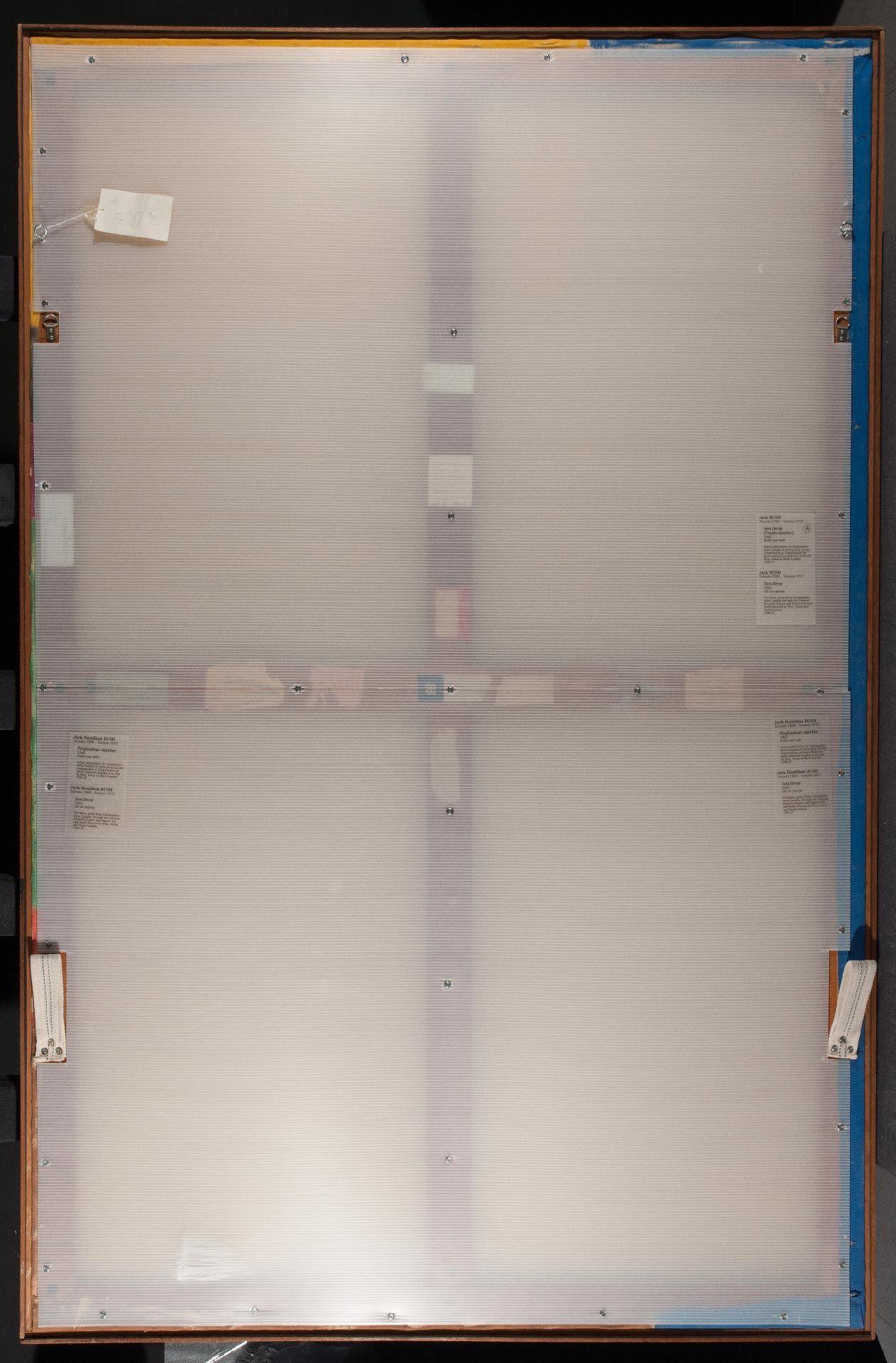 La présence d'un dos protecteur semi-rigide, vissé au dos du châssis, a empêché qu'un dommage plus grave, comme une perforation de la toile, ait lieu. Au coin bas inférieur, un renflement du panneau cannelé est visible au point d'impact.