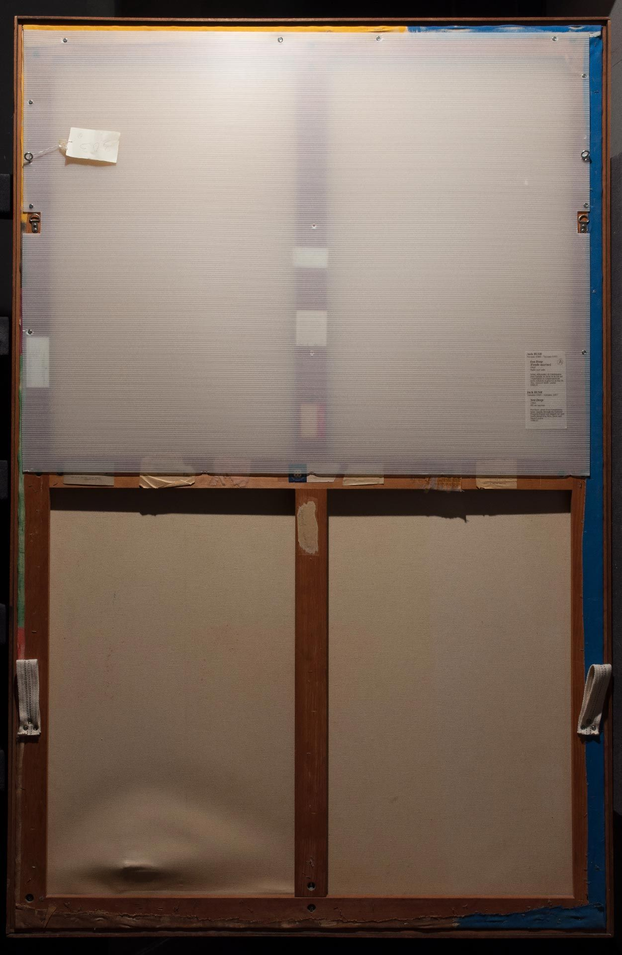 The extent of canvas deformation in the lower left corner is visible in raking light, with the lower half of the backing board removed. The canvas fibres had been stretched but had not ruptured.