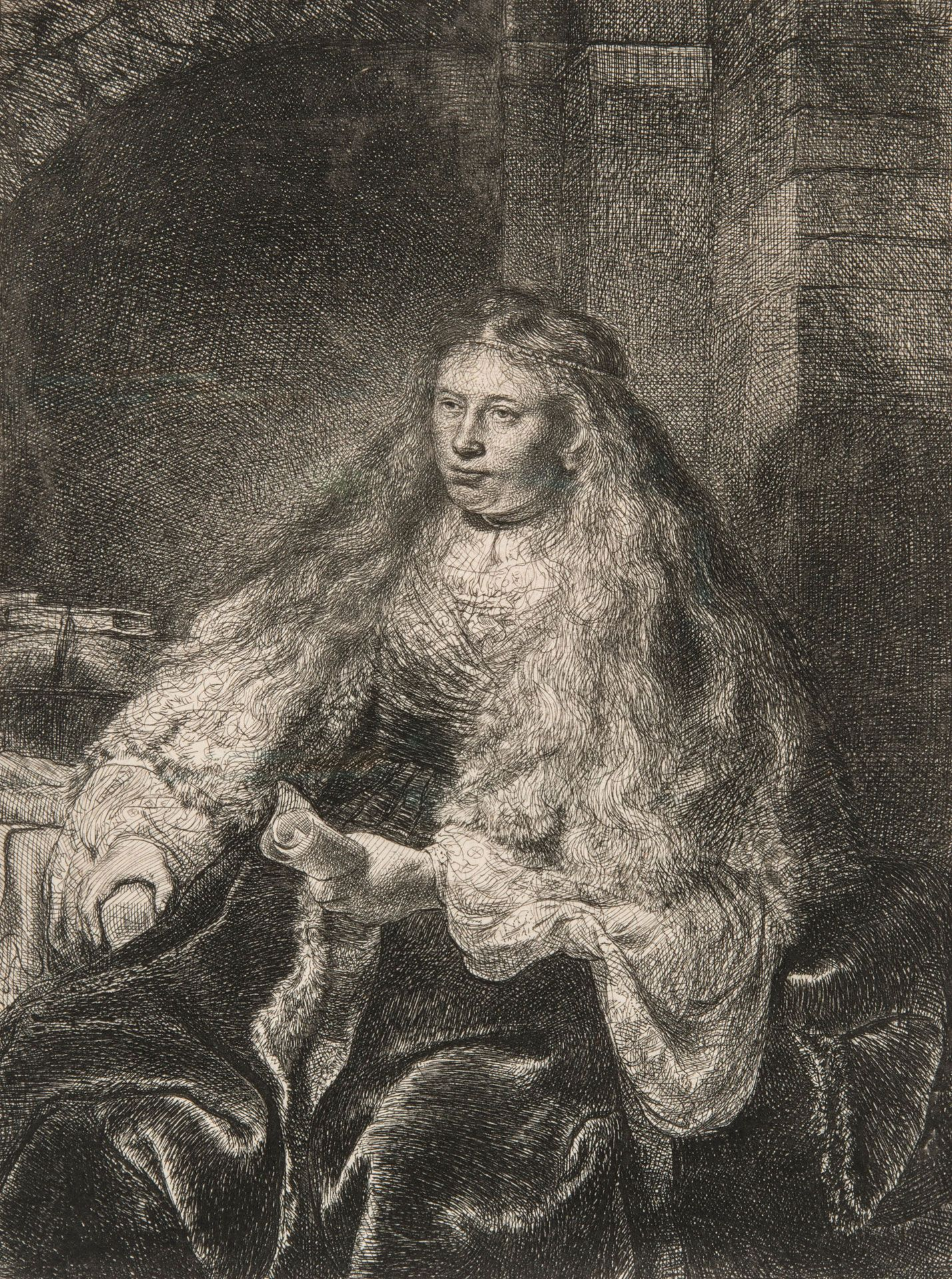 Rembrandt Harmensz. van Rijn (1606-1669), La grande mariée juive, 1635, eau‑forte, pointe sèche, burin, 5e état sur 5, 22,5 x 17,1 cm. MBAM, don de Freda et Irwin Browns en l'honneur de Hilliard T. Goldfarb.