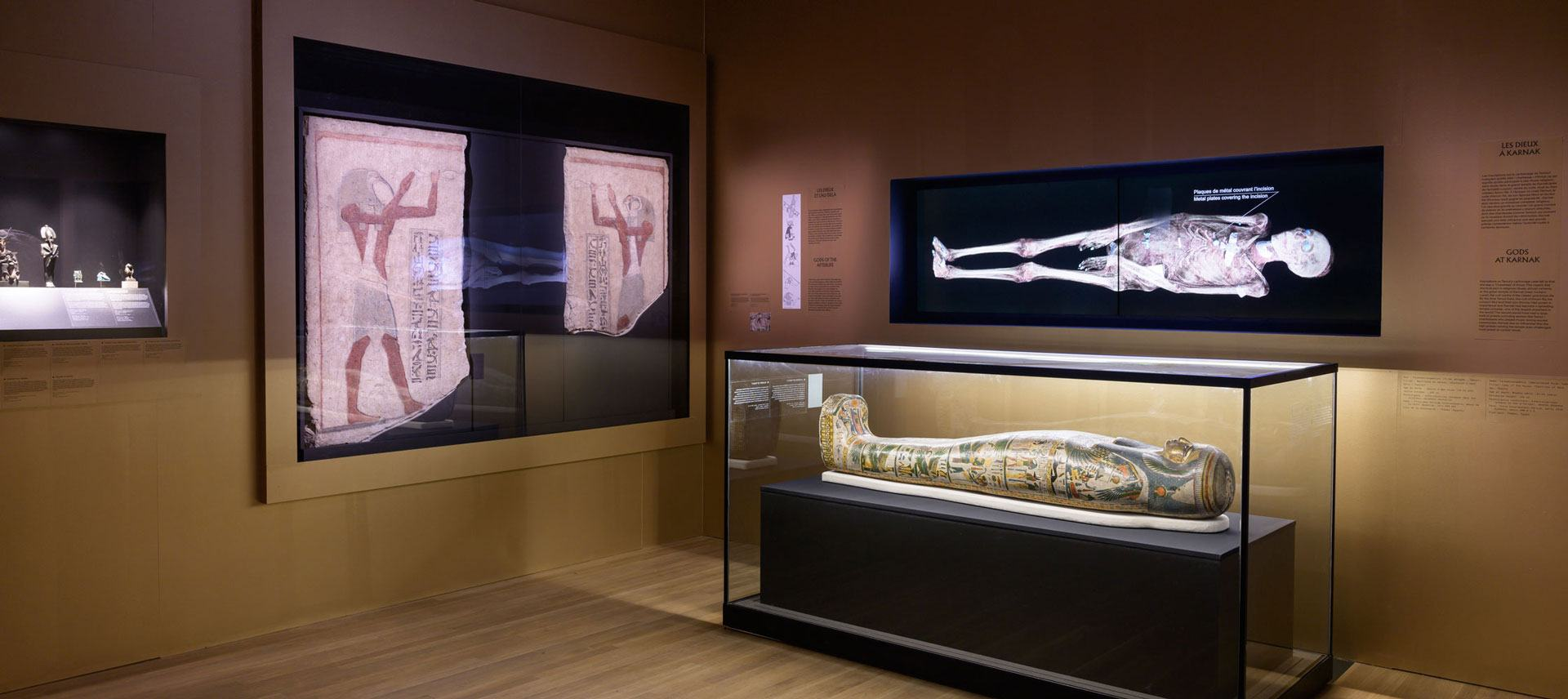 sarcophagus and x-rays from the MMFA exhibition Egyptian Mummies: Exploring Ancient Lives. Photo MMFA Denis Farley.