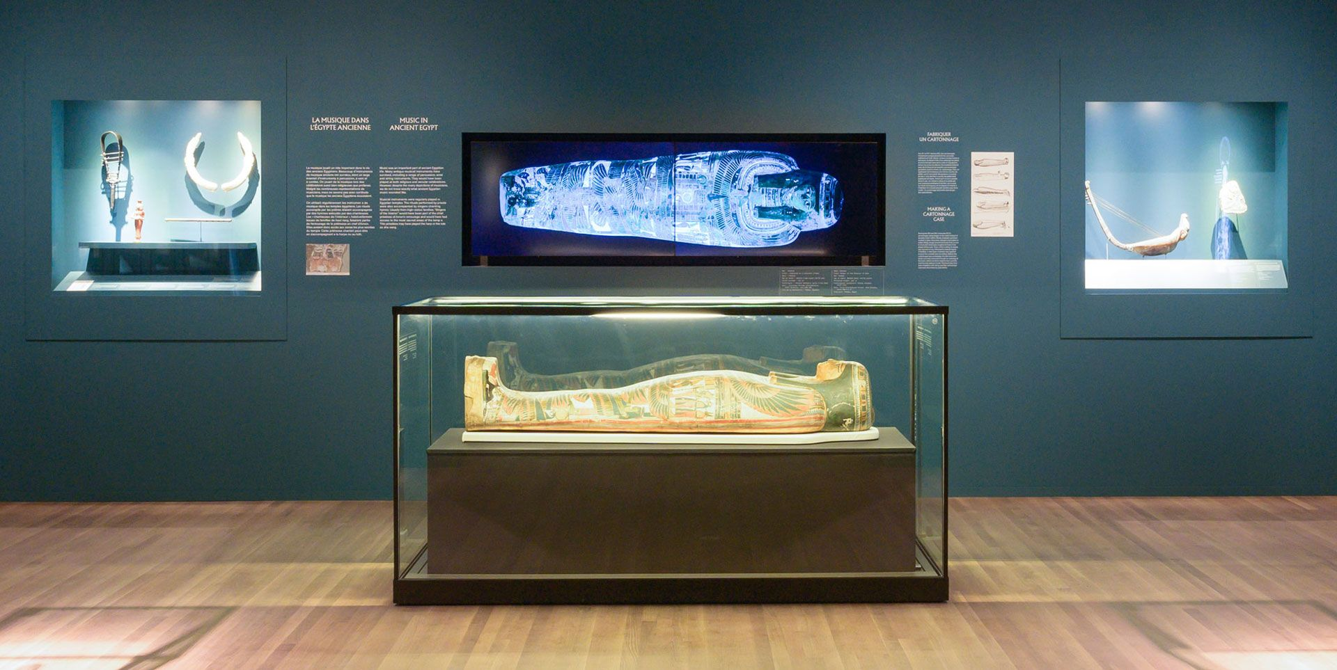 sarcophagus and x-rays from the Montreal Museum of Fine Arts exhibition Egyptian Mummies: Exploring Ancient Lives