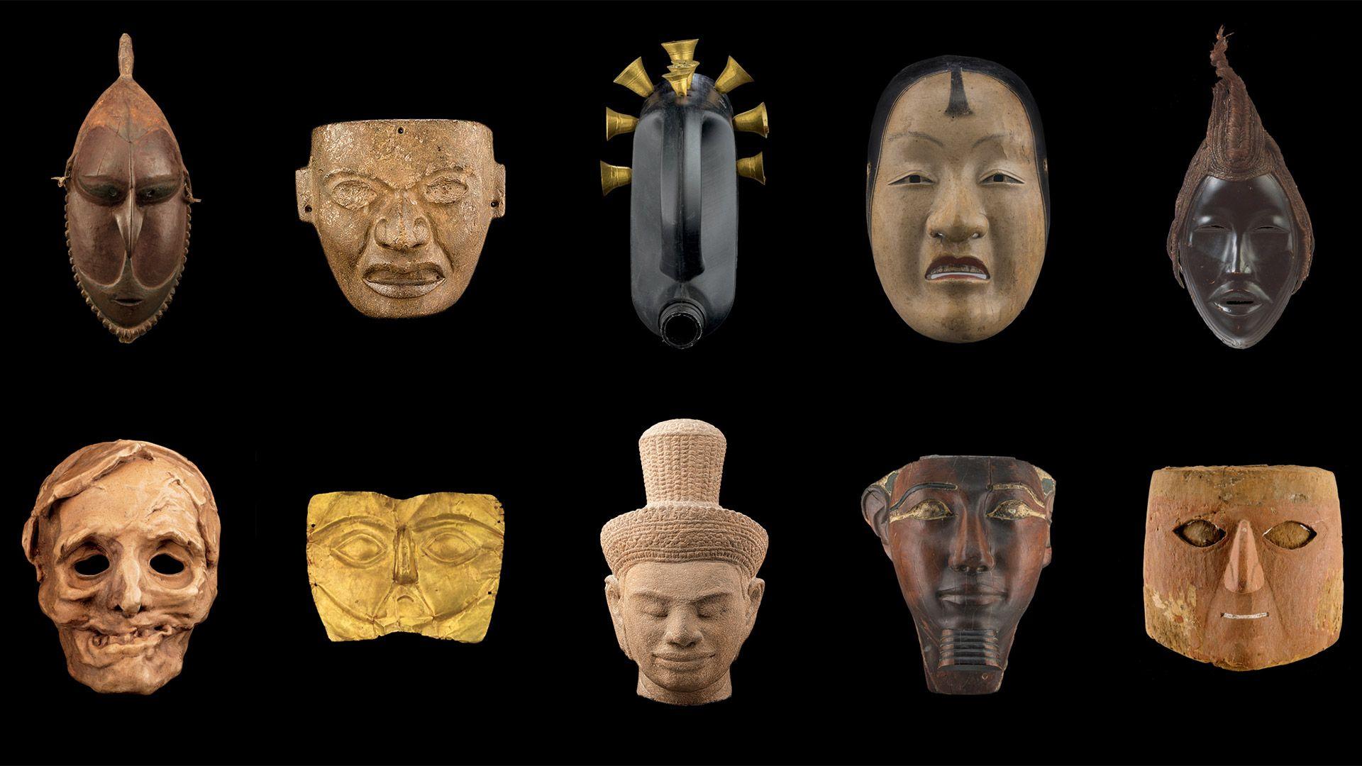 mosaïque de masques de la collection Les Arts du Tout-Monde du Musée des beaux-arts de Montréal