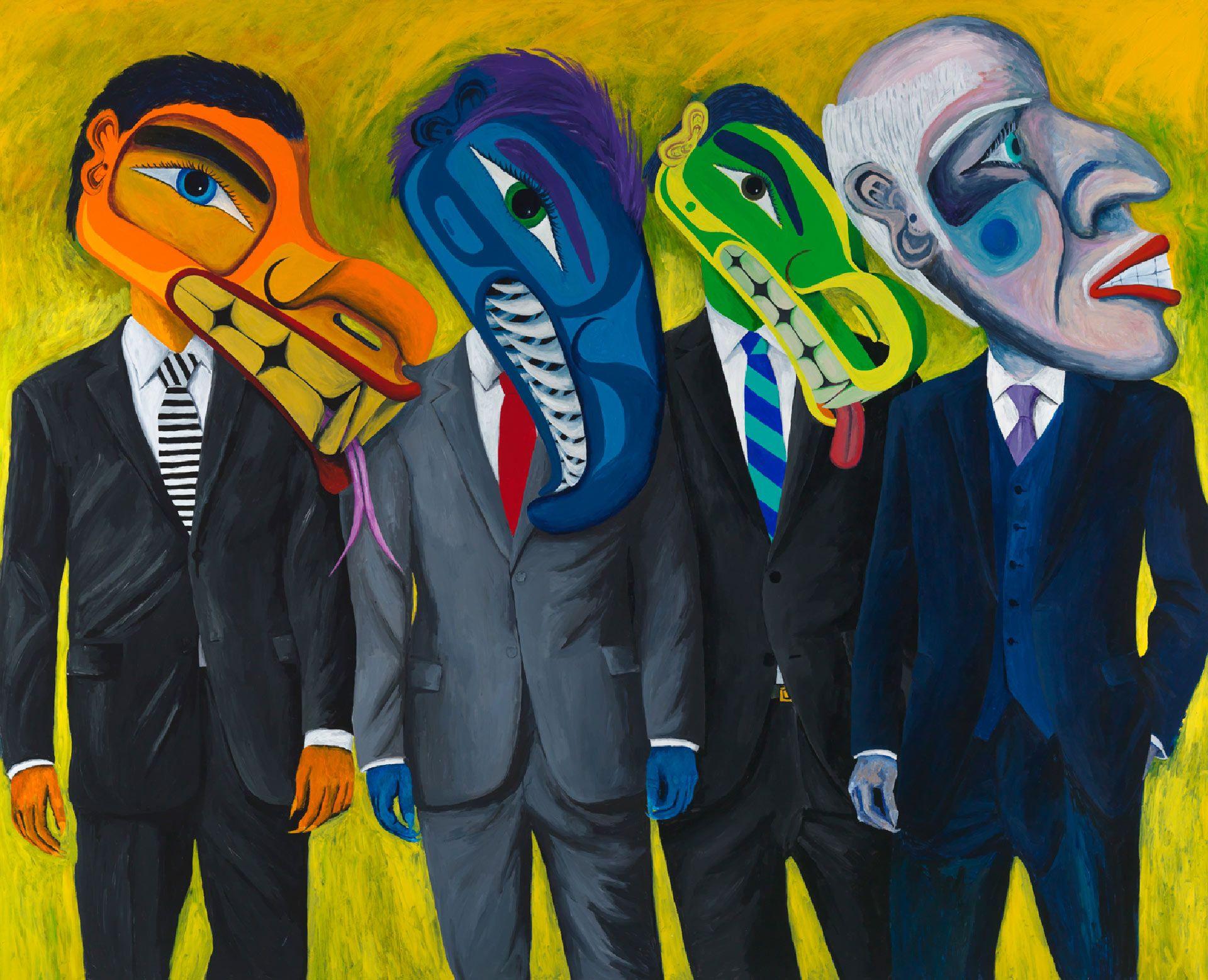 Lawrence Paul Yuxweluptun (né en 1957), Super-rapaces : le un pour cent, 2015, acrylique sur toile. Photo Joseph Hartman.