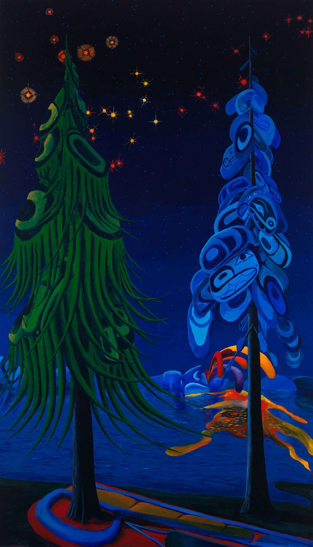 Lawrence Paul Yuxweluptun (né en 1957), Pollycouleur, 2014, acrylique sur toile. Photo Joseph Hartman.