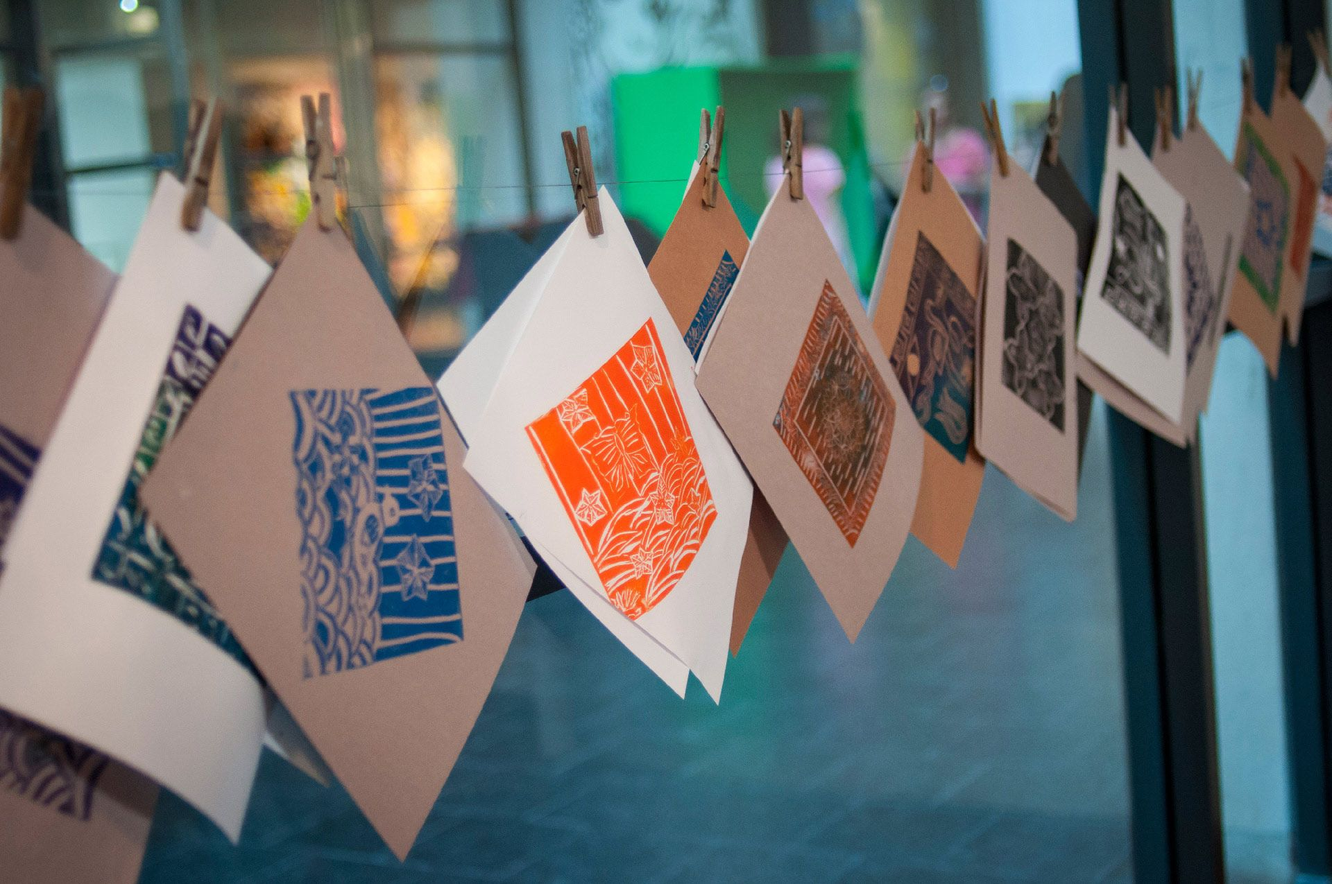 stamps that were made during the Thursdays at the Museum activity by the MMFA. Photo © Olivier Schwaiki