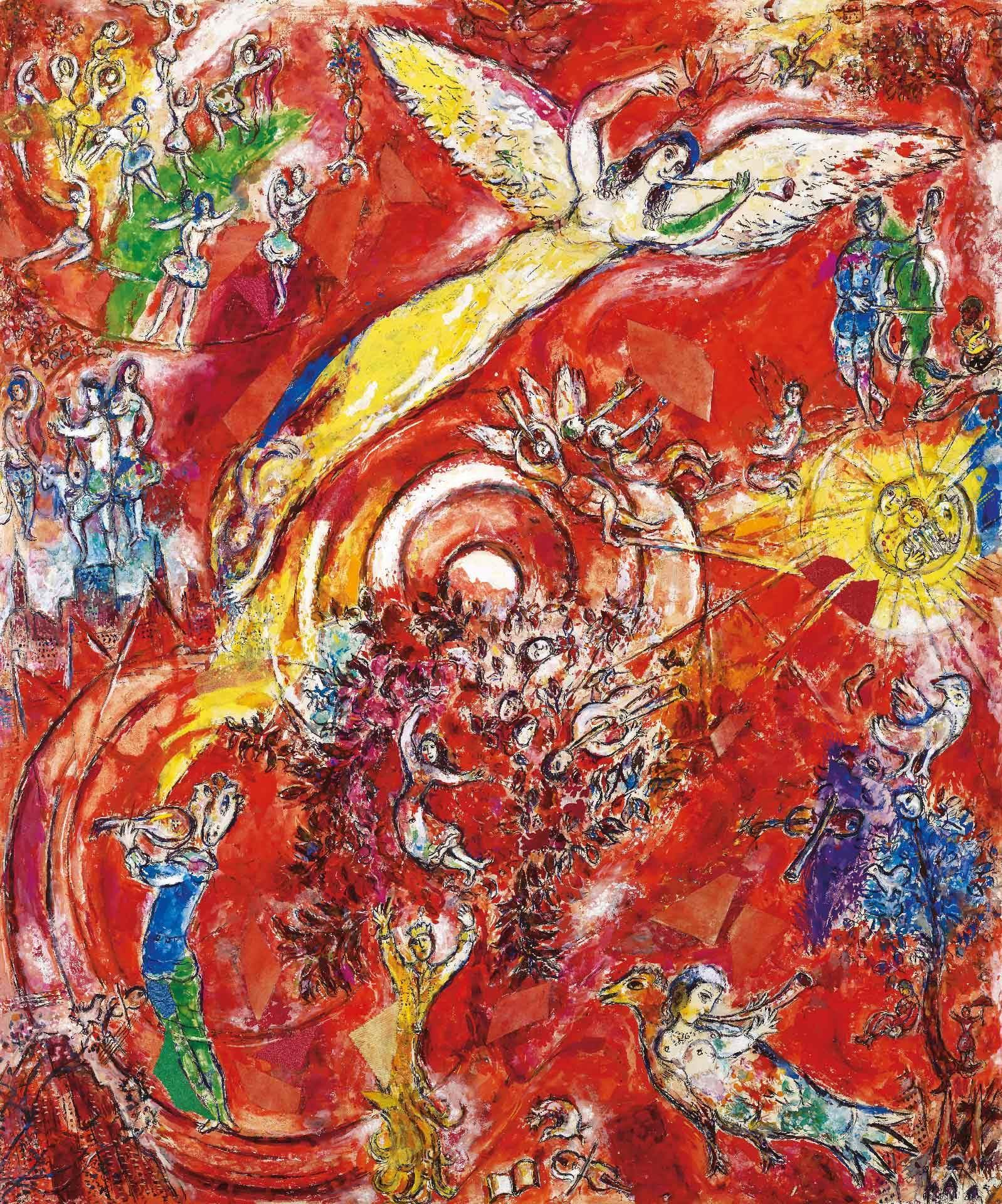 Marc Chagall (1887-1985), Maquette définitive pour la peinture murale du Metropolitan Opera, Lincoln Center for the Performing Arts, New York : Le Triomphe de la musique (détail), 1966