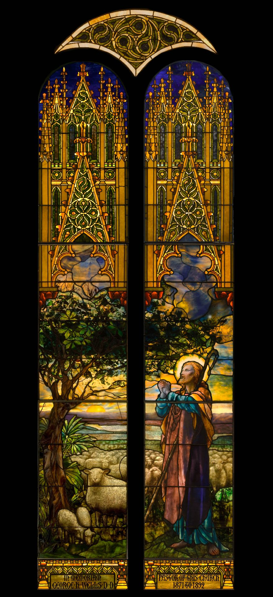 The Good Shepherd,1897. Designed by Frederick Wilson. Leaded-glass windows made by Tiffany Glass and Decorating Company, New York.