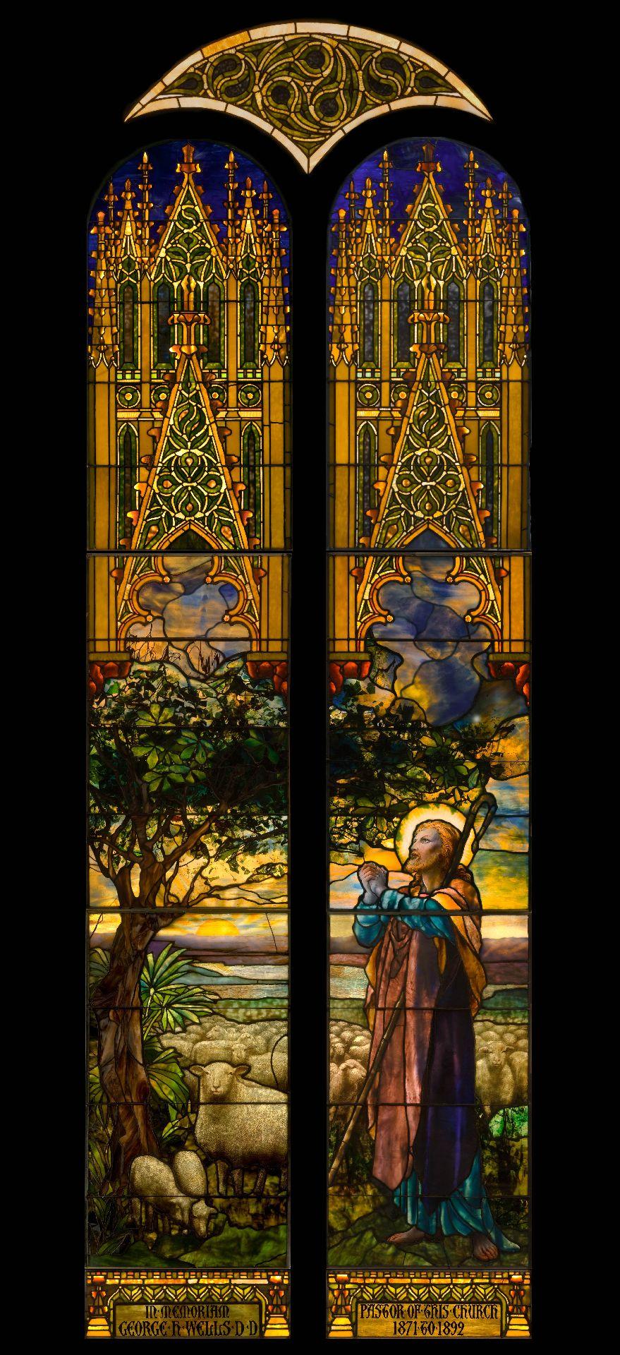 Le Bon Berger, 1897. Dessiné par Frederick Wilson. Vitrail réalisé par la Tiffany Glass and Decorating Company, New York.