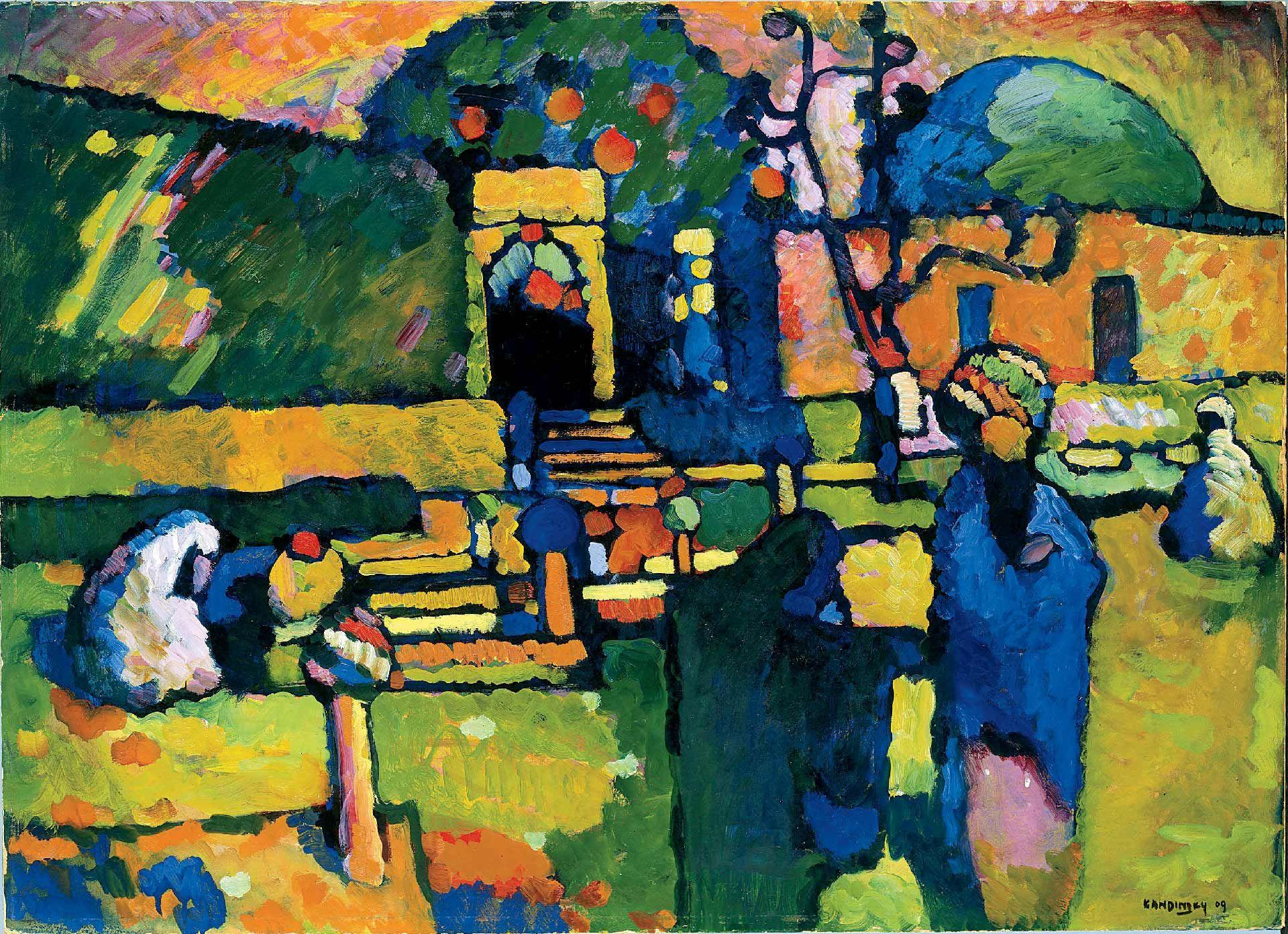 Wassily Kandinsky, Arabian Cemetery (detail), 1909, oil on cardboard. Hamburger Kunsthalle