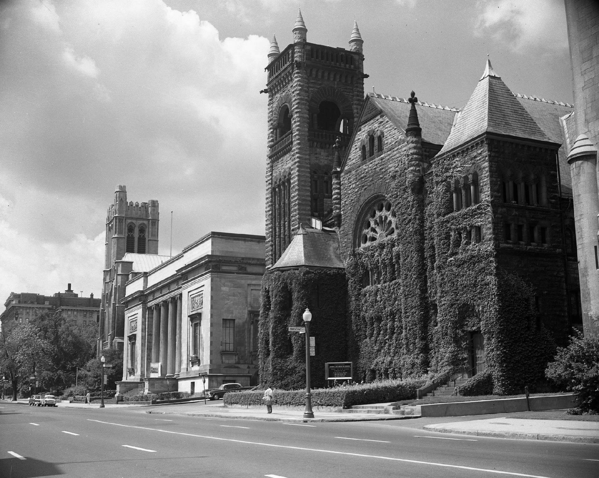 Black and white picture outside of the Erskine and American Church