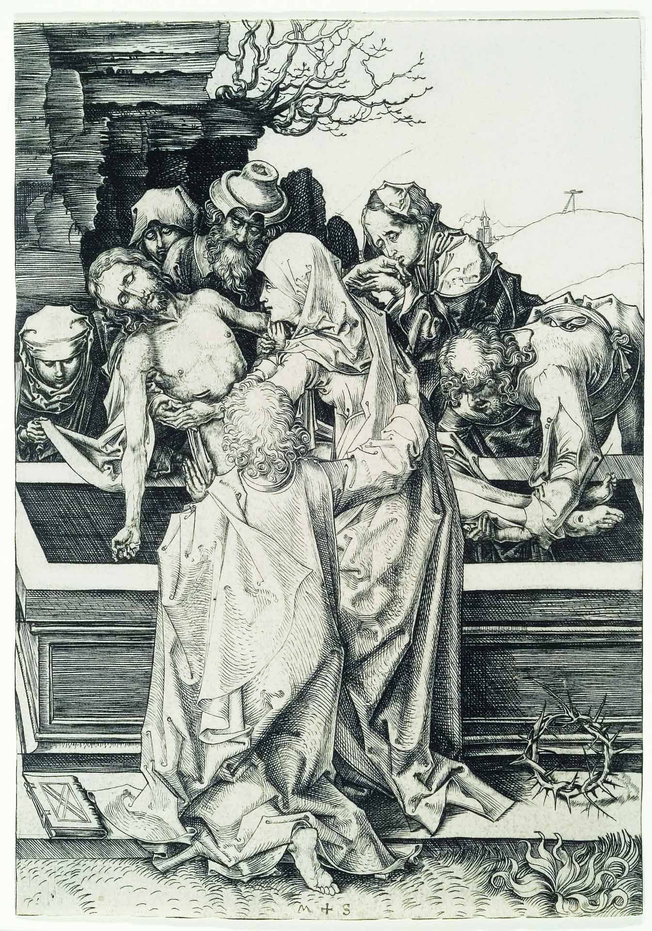 Martin Schongauer (1440/50-1491), The Entombment, about 1480, engraving, only state. MMFA, purchase, anonymous fund