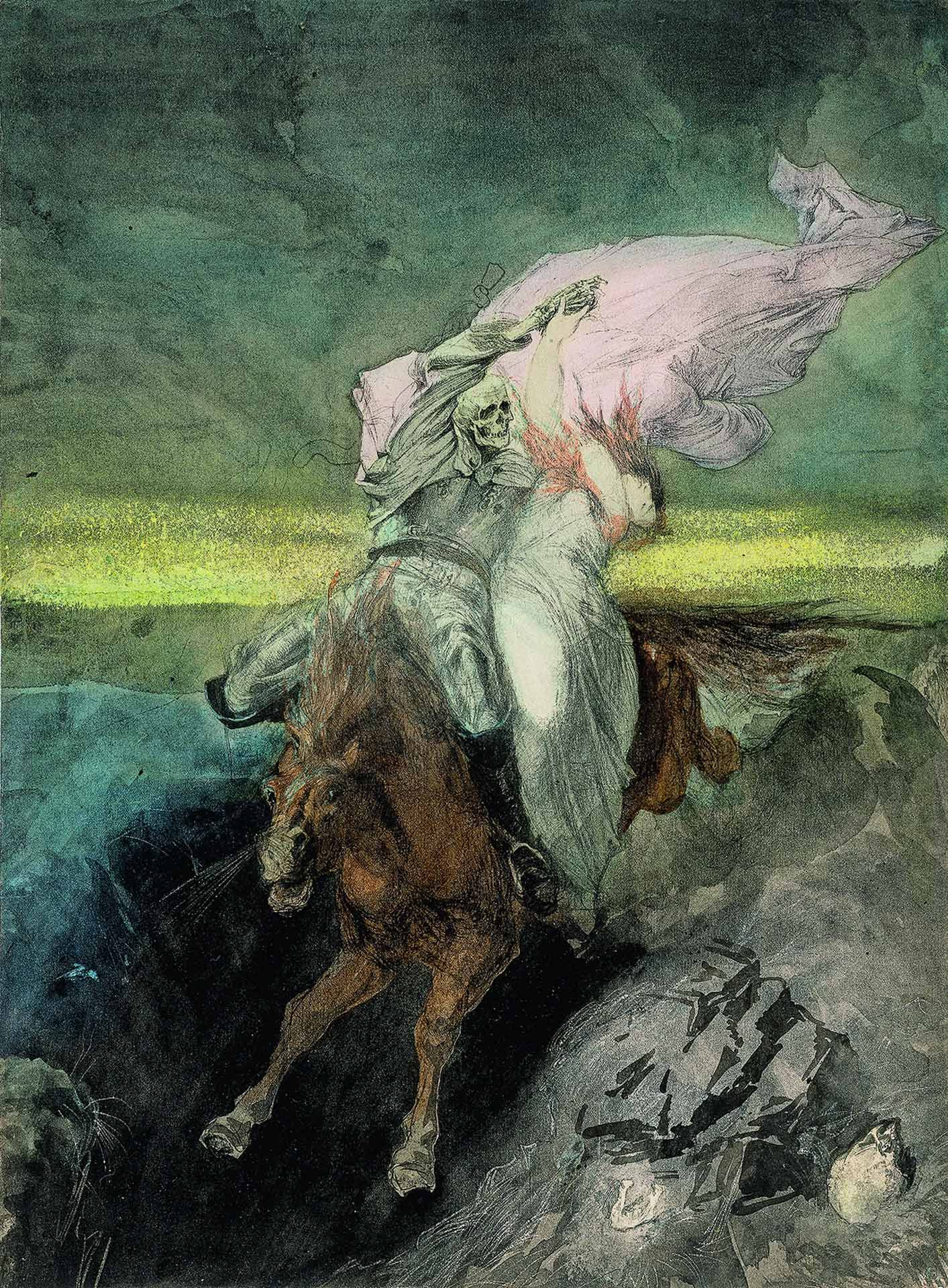 Hans Makart (1840-1884), The Abduction / Death and the Maiden, about 1863, pen and ink, ink wash, grattage, pastel (?), graphite. MMFA, purchase, Claude Dalphond Fund in memory of Gisèle Lachance