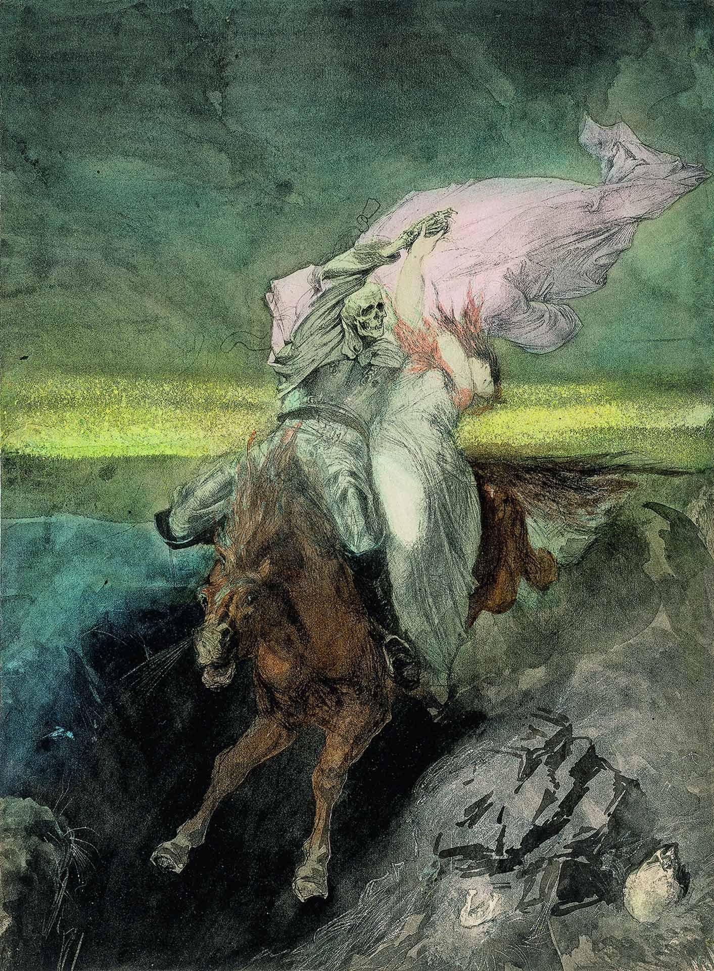 Hans Makart (1840-1884), Le Rapt / La jeune fille et la Mort, vers 1863, plume et encre, lavis d'encre, grattage, pastel (?), mine de plomb. MBAM, achat, fonds Claude Dalphond à la mémoire de Gisèle Lachance