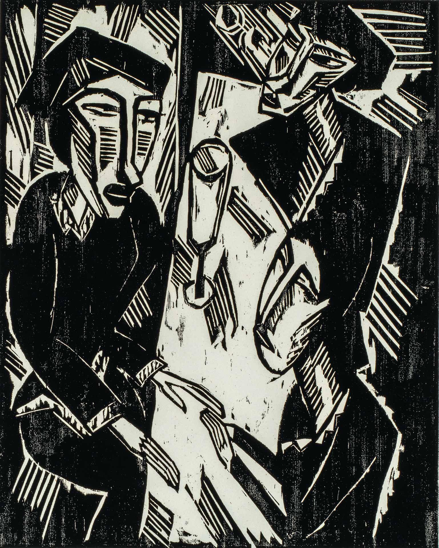 Karl Schmidt-Rottluff (1884-1976), Trois personnes à une table, 1914, gravure sur bois de fil, état unique. MBAM, achat, fonds de la Campagne du Musée ¬1988-1993. © Succession Karl Schmidt-Rottluff / SOCAN (2020)