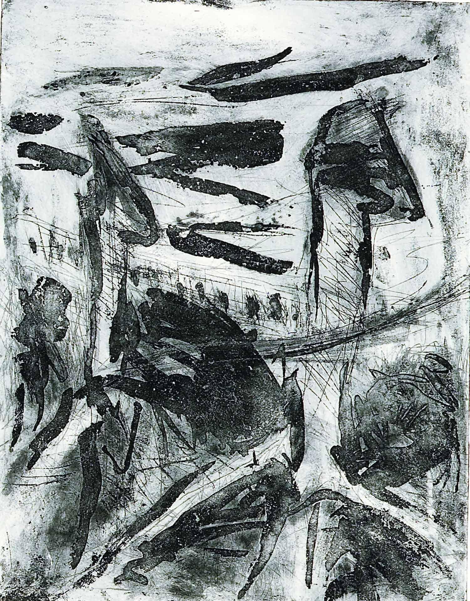 Georg Baselitz (né en 1938), Sans titre (Arbre), 1977/1980, pointe sèche, aquatinte. MBAM, don de Hilliard T. Goldfarb en l'honneur de Renata et Michal Hornstein. © Georg Baselitz 2020