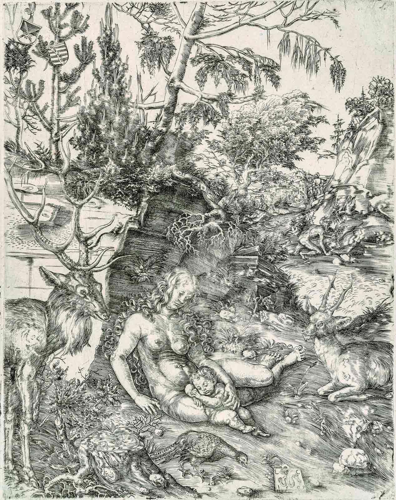 Lucas Cranach l'Ancien (1472-1553), La pénitence de saint Jean Chrysostome, 1509, burin, 2e état sur 2. MBAM, achat, fonds Dr Sean B. Murphy