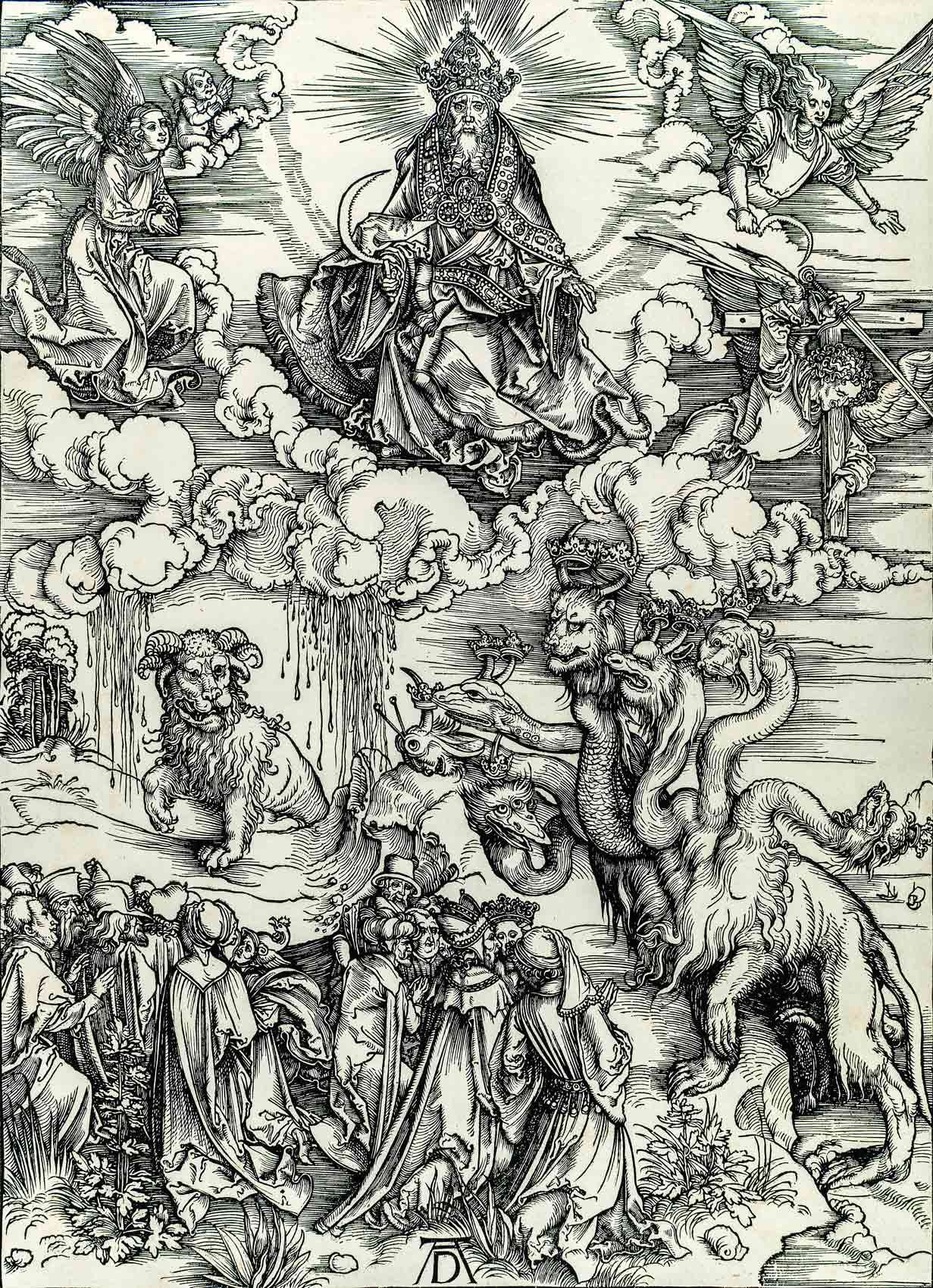 """Albrecht Dürer (1471-1528), The Beast with Two Horns Like a Lamb, plate XI from the series """"The Apocalypse,"""" 1496-1497, woodcut, proof. MMFA, purchase, Claude Dalphond Fund in memory of Gisèle Lachance, Dr. Sean B. Murphy Fund and Horsley and Annie Townsend Bequest"""