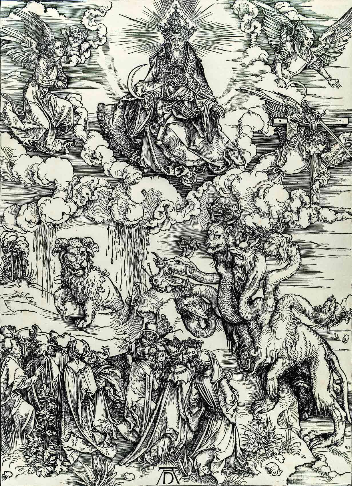 Albrecht Dürer (1471-1528), Le dragon à sept têtes et la bête aux cornes d'agneau, Planche XI de la série « L'Apocalypse », 1496-1497, gravure sur bois de fil, épreuve. MBAM, achat, fonds Claude Dalphond à la mémoire de Gisèle Lachance, fonds Dr Sean B. Murphy et legs Horsley et Annie Townsend
