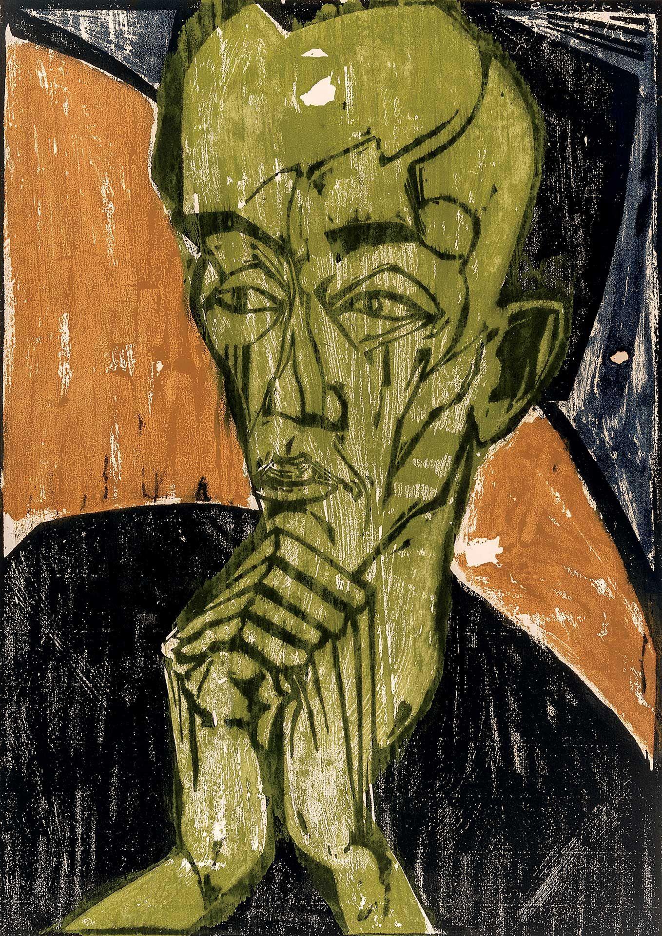 Erich Heckel (1883 – 1970), Männerbildnis [Portrait d'homme], 1919
