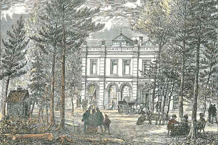 James L.Weston, Vue de l'édifice de l'Art Association, square Phillips, à Montréal, photolithographie colorée (première page du Canadian Illustrated News, 31 mai 1879).