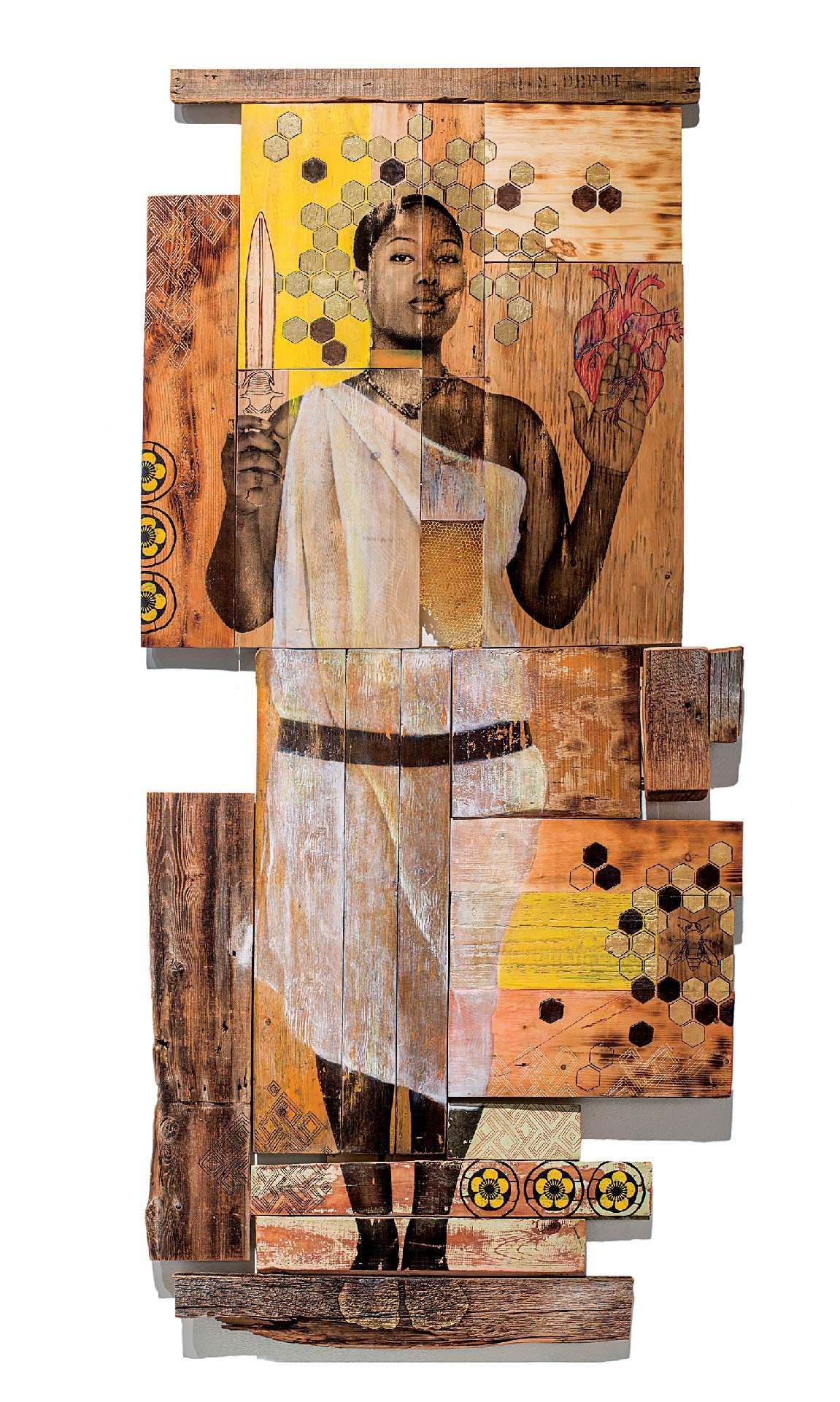 Shanna Strauss, Memory Keepers, 2017, photo transfer, acrylic, wood-burning and carving on recycled wood. Collection of the artist.