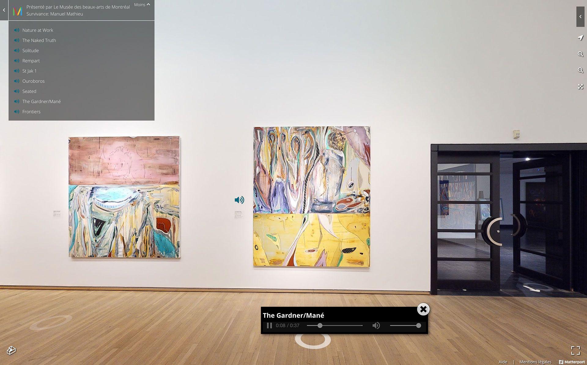 Vue de la version virtuelle de l'exposition Manuel Mathieu : Survivance