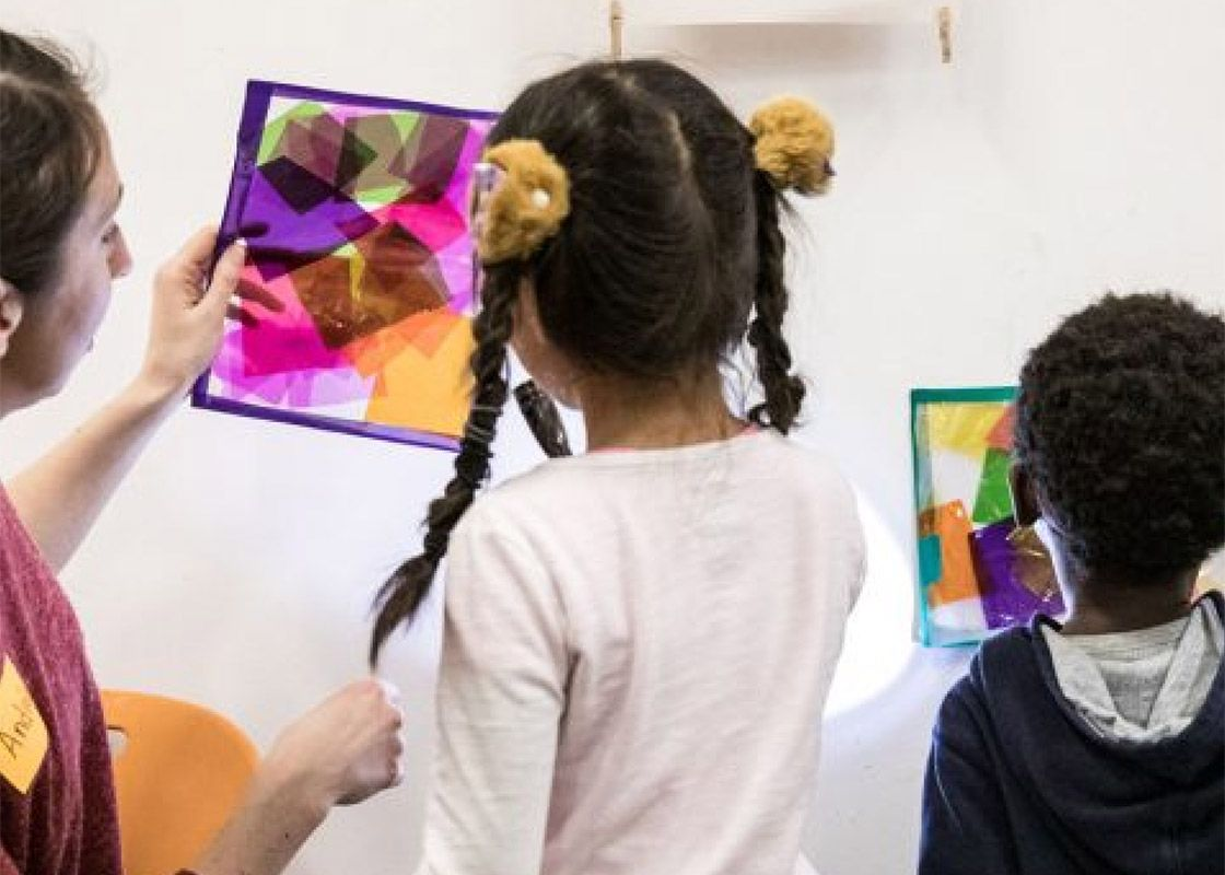 young girls taking part in one of MMFA's family activities