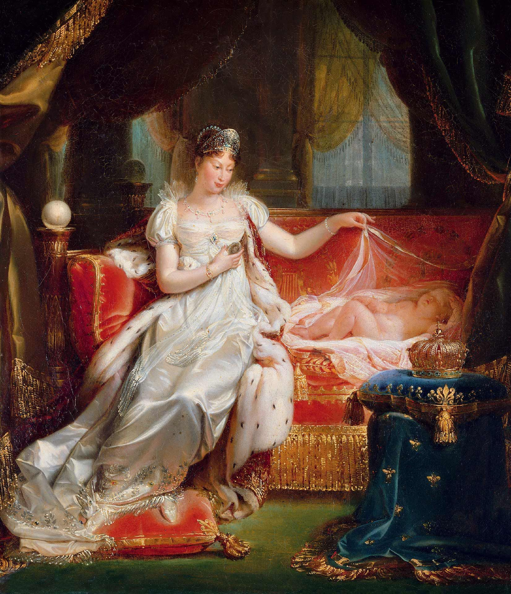 Joseph Franque (1774-1833), The Empress Marie-Louise Watching Over the Sleeping King of Rome, presented at the Salon of 1812, 1811, oil on canvas. Musée national des châteaux de Versailles et de Trianon. © RMN-Grand Palais / Art Resource, NY / Daniel Arnaudet.