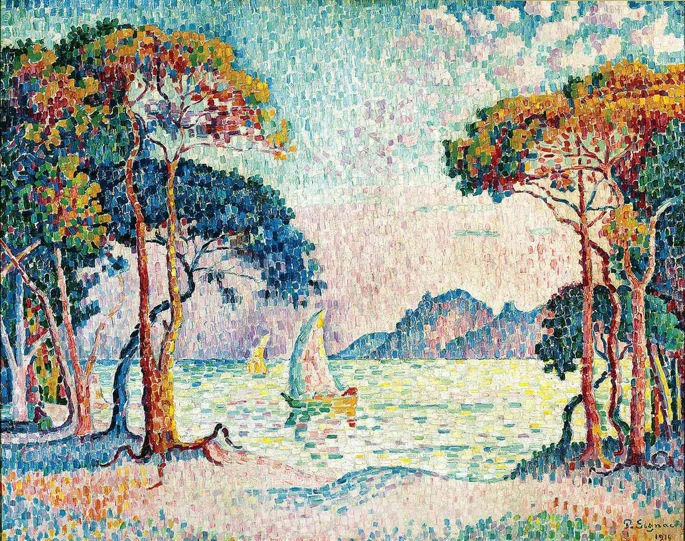 Paul Signac (1863-1935), Juan-les-Pins. Evening (detail), 1914, oil on canvas, 73 x 92 cm. Private collection. Photo Maurice Aeschiman, Geneva