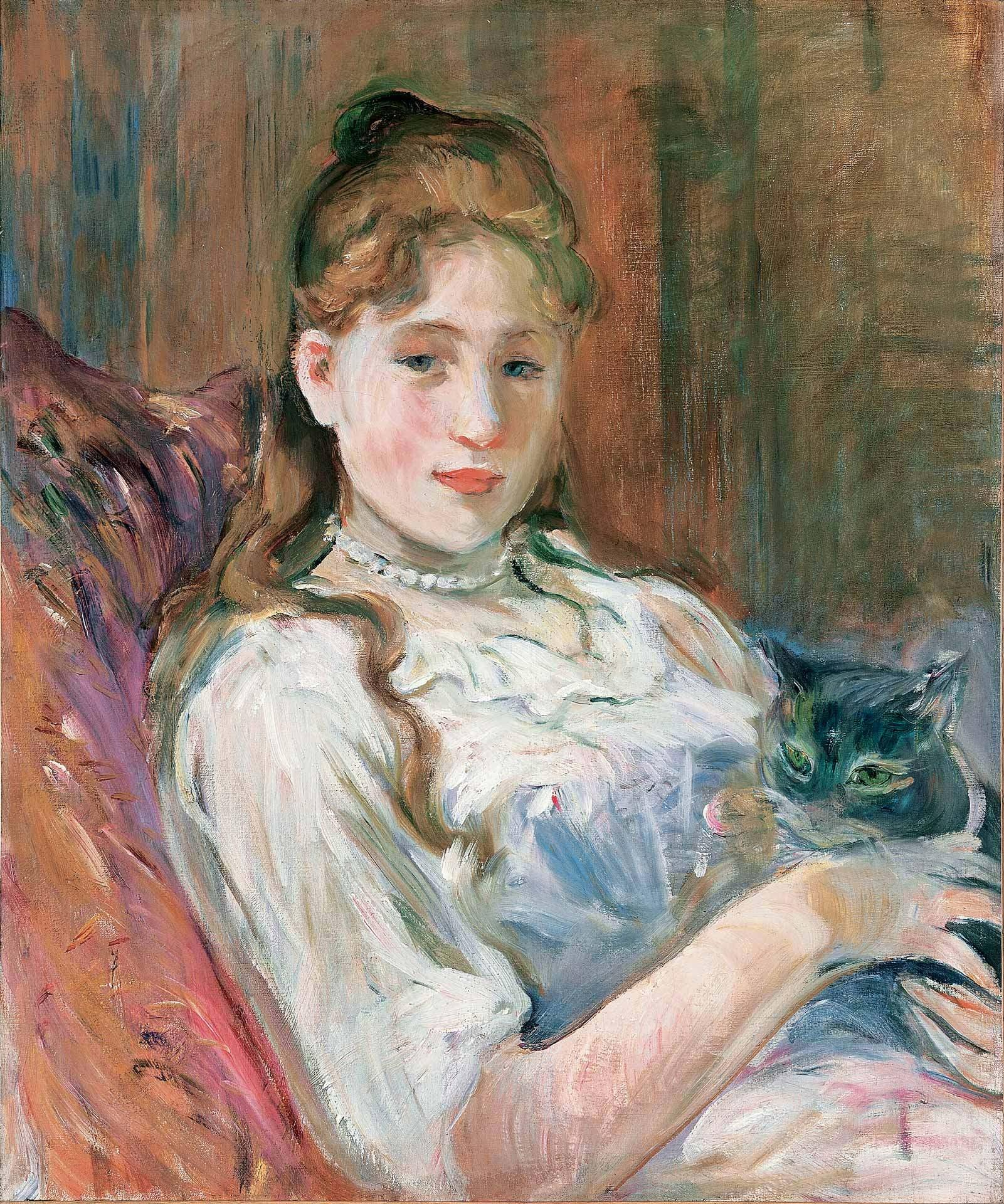 Berthe Morisot (1841-1895), Jeune fille au chat, 1892, huile sur toile. Collection particulière