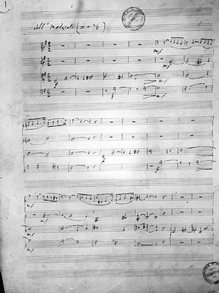 Score of the String Quartet in E minor, Op. 121