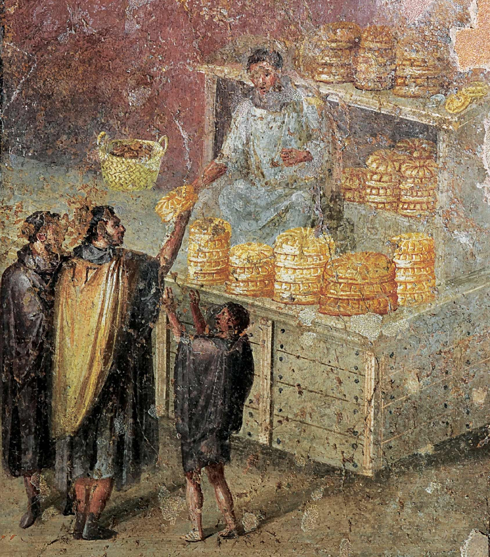 Fresco of the distribution of bread, painted plaster, Pompeii, tablinum, House of the Baker. Museo Archeologico Nazionale di Napoli (MANN)